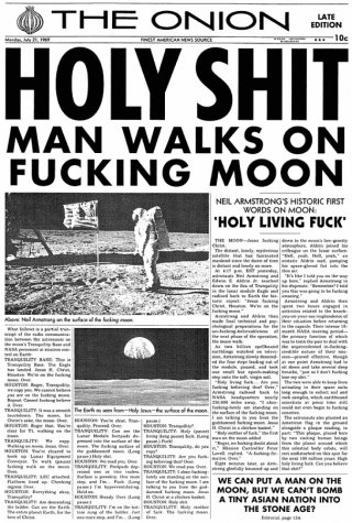 Newspaper from 1969: Holy Shit, Man Walks on Fucking Moon