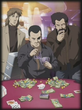 Togusa and Ishkawa watch Saito play cards