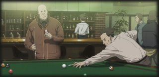 Boma and Pazu shoot some pool